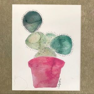 Watercolor Potted Succulent Cactus Pink Framed EUC